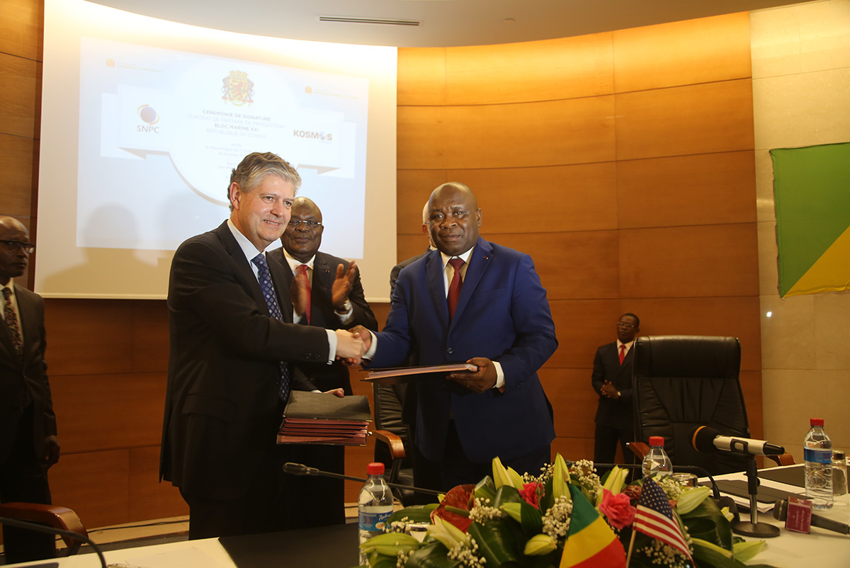 Signature of the Production Sharing Agreement of Bloc Marine XXI with the American company Kosmos Energy